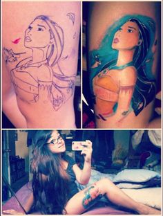 Pocahontas tattoo  Finished in one 3.5 hour session by the amazing Sammy at IFA2 Tattoo Studios in Alhambra, CA.