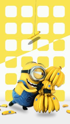 ↑↑TAP AND GET THE FREE APP! Shelves Funny Minion with Bananas Yellow Cartoons Movie Despicable Me Icons HD iPhone 6 plus Wallpaper