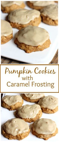 Melt-in-your-mouth Pumpkin Cookies with Caramel Frosting are my all time FAVORITE cookies! Recipe on http://TastesBetterFromScratch.com