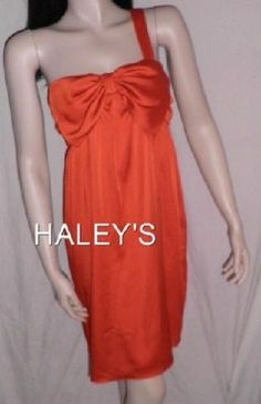 Gianni Bini Size 12 Orange One Shoulder Dress Cocktail Flowing MSRP $158 NWT New…