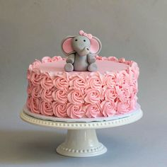 Pink rosettes and elephant baby shower cake : Blue Lace Cakes