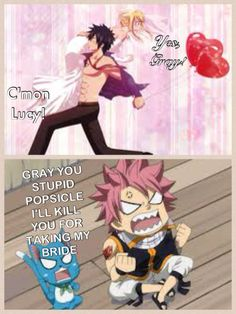 Gray, Lucy and Natsu.  The endless fight.  :)
