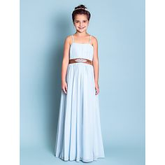 A-line Princess Spaghetti Straps Floor-length Chiffon And Stretch Satin Junior Bridesmaid Dress (734030) – USD $ 79.99