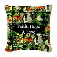 Beautiful Faith, Hope, and Love butterfly photo collage on Tees, Decor, and Gifts http://www.cafepress.com/heavenlyblessings.1444540530 #Faithhopelove #Havefaith #BelieveinGod #Christiangifts #Giftsoffaith #Butterflies #Butterflyphoto #Ilovebutterflies #Bibleverse #Bibleversegifts