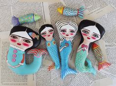 Frida Art, Mermaid Dolls, Art Dolls, Mixed Media, Studio, Friends, Crafts, Fictional Characters, Color