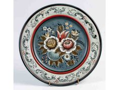 Plate with Valdres Rosemaling by Eleanor Peterson