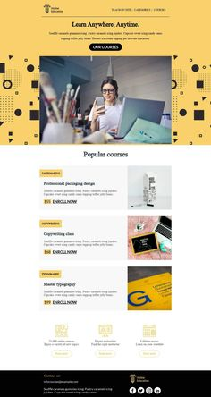 Customize this email design template with your content and push it to you favorite sending platform, such as Mailchimp, Sendinblue, Hubspot, Campaign Monitor etc. BEE is the easiest and quickest way to design elegant, mobile responsive emails, starting from scratch or from our 440+ ready-to-use templates.Visit the link above to have a look to our template! #emaildesign #emailtemplate #onlinecourse   Designed by Regina Tagirova Html Email Design, Html Email Templates, Email Template Design, Email Marketing Design, Marketing Flyers, Landing Page Inspiration, Email Design Inspiration, Responsive Email, Mobile Responsive