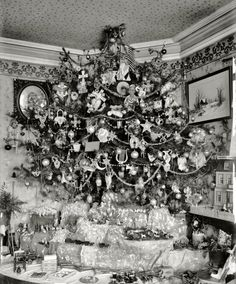 """Circa 1920. """"Houck Christmas tree."""" Everyone gather round for eggnog and carols! National Photo Company Collection glass negative. - That's about how wide our x-mas tree was when I was little. lol"""
