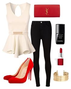 """""""Workflow"""" by rhea-xoxo ❤ liked on Polyvore featuring AG Adriano Goldschmied, Jane Norman, Christian Louboutin, Yves Saint Laurent, le top, Clinique and H&M"""