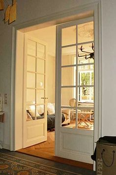 Interior french doors add a beautiful style and elegance to any room in your home. Double Doors Interior, Interior Windows, Style At Home, Home Living Room, Living Room Themes, Door Design, House Design, Internal Sliding Doors, Farmhouse Remodel