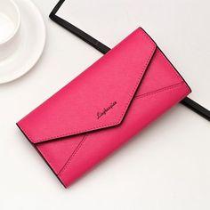 Women PU Leather Envelope Wallet Multi-Card Slots Card Bag Phone Wallet Purse