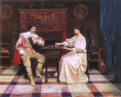 Berndtson, Gunnar (b,1854)- Couple Playing Chess (Shakinpelaajat), 1878 -2b