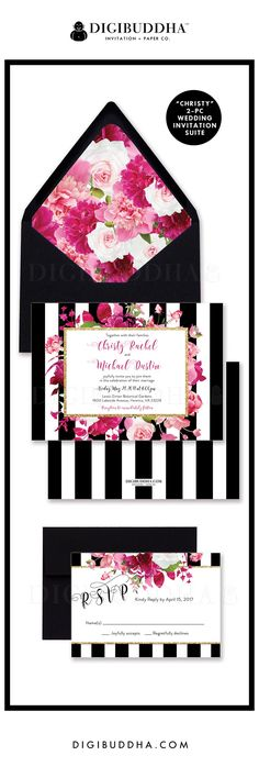 "Modern and elegant black and white striped 2 piece wedding invitations including a 5x7"" invitation and smaller RSVP card.  Gorgeous floral accents in shades of fuchsia and blush pink, classic calligraphy and a dash of gold glitter bling.  Coordinating pink floral envelope liner and black envelopes also available.  digibuddha.com"