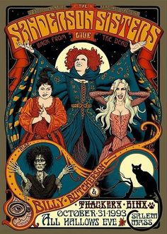 cat Halloween Poster salem Billy Butcherson All Hallows Eve bruxas Witchs sanderson sisters Image Halloween, Halloween Movies, Holidays Halloween, Halloween Crafts, Happy Halloween, Halloween Tumblr, Halloween Tattoo, Halloween Witches, Halloween Pictures
