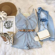 Love this cute playsuit and all the accessories to go with it. Perfect for a sunny day party! | Trendy outfit ideas for women who follow fashion and love style.