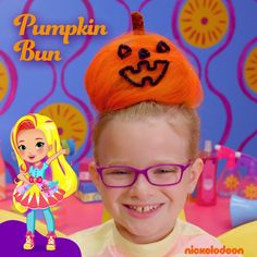 Parents can get inspiration from Nick Jr.'s new show, Sunny Day, when doing their kids' Halloween hairstyle! This pumpkin bun is easy to recreate and will be a showstopper on Halloween.