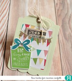 Card by Lisa Henke. Reverse Confetti stamp set: Boxes 'n Balloons. Confetti Cuts: Boxes 'n Balloons, Gift Card Holder Tag, and Hang Ups. Quick Card Panels: Party Time. Birthday card. Congratulations card. Graduation card.
