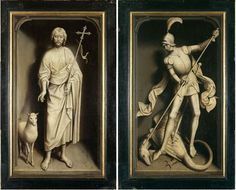 Hans Memling, St. John the Baptist and St. George, grisaille exterior wings of the Moreel Triptych, 1484