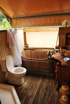 Glamor Camping- aka #glamping.... I want that tub!  It's awesome!!!!