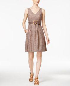 Nine West Cotton Belted Fit & Flare Dress | macys.com