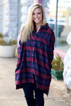 Country Cutie Plaid Tunic {Deep Red} | The Fair Lady Boutique