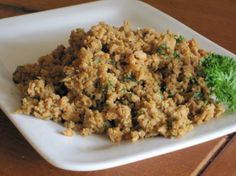 T. V. P. Sausage Crumbles (Vegetarian/Vegan/Gluten-Free) from Food.com:   Based on my: Vegan/Vegetarian Sausage Patties, this is a delicious addition to your favorite vegan gravy or pizza.