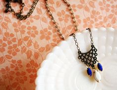 Tribal deco vintage necklace aged brass with by Peapodtreasures, $26.00