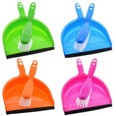 Small dustpan and brush sets will help clean up all your household messes! Small plastic brush and dust pan with rubber edging makes it easy to sweep up small piles of dust, dirt, and crumbs. Brush an