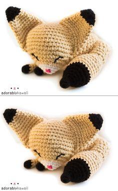 Sleepy fennec fox amigurumi plush doll toy  by adorablykawaii, $37.00