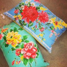 Tea towel cushions. insideoutmag Instagram