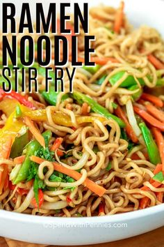 A ramen noodle stir fry is a great weeknight meal. Ready in 20 mins, this easy recipe is made with cabbage, broccoli, and ramen noodles. Add in beef or chicken for a filling meal and control the spicy-ness with a homemade sauce! #spendwithpennies #ramenstirfry #stirfryrecipe #ramennoodlerecipe #maindish #Asian #20minmeal Stir Fry Recipes, Beef Recipes, Vegetarian Recipes, Cooking Recipes, Easy Ramen Recipes, Vegetarian Ramen, Ramen Noodle Recipes Chicken, Recipes With Ramen Noodles, Stir Fry Ramen Noodles