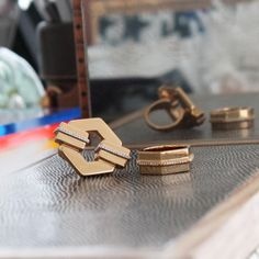 Trend: Geometric What better way to complement your latest mani than with these geometric rings? Layer them with some of your smaller,  go-to accessories for an eye-catching, layered look, à la RZ. Gavriel Cutout Hexagon Ring, Rachel Zoe $95 Gavriel Hexagon Ring, Rachel Zoe $95