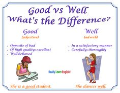 Good vs Well: What is the difference; confusing words; learn English; #ESL #EFL #ELL