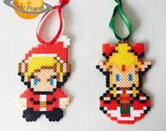 Perler Beads Sprite Christmas Ornament Mario by PixelPlanetShop