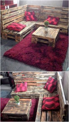 Give a quick look at the furniture pallet idea we are sharing out for you in this image. This furniture awesome idea of pallet will show out the brilliant use of the couch in it where the finest pairing of the center table has been custom added over it for your house beauty impact.