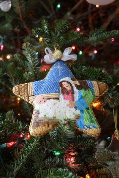 needlepoint holy family (nativity) in star christmas ornament Nativity Ornaments, Cross Stitch Christmas Ornaments, Christmas Embroidery, Christmas Nativity, Christmas Cross, Diy Christmas Ornaments, Nativity Sets, Plastic Canvas Christmas, Needlepoint Kits