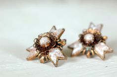 Copper Clip On Earrings  Ornate Filigree Detailing  by miriamMADLY
