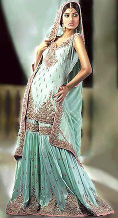 BW6955 Green Water Gharara Shop the latest Fashions in Pakistani and Indian Bridal Lehenga, Sharara & Gharara Bridal Wear
