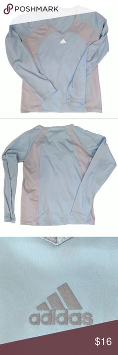 "Adidas baby blue long sleeve top-Med.-EUC Adidas baby blue long sleeve top-Mesh netting down sides-EUC-Med.  Material-Body-100% Polyester/Mesh-82% Polyester/18% Spandex Approx Measurements laying flat Length-23 1/2"" Chest-19 1/2"" Sleeves-29"" from neck adidas Tops Tees - Long Sleeve"