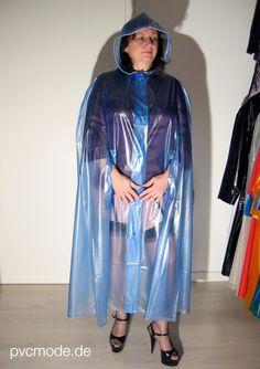Girl wearing a transparent blue PVC Cape (user pic) kemo-cyberfashion.de