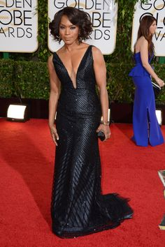 """Actress Angela Bassett at the 2014 Golden Globes"": She is beyond beautiful and that dress is exquisite."