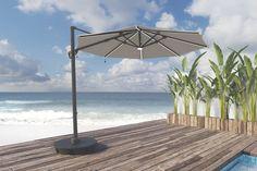 Bay Isle Home Gypsou Cantilever Sunbrella Umbrella Large Backyard Landscaping, Patio Pergola, Garage Pergola, Wooden Pergola, Pergola Shade, Parasols, Patio Umbrellas, Cantilever Patio Umbrella, Patio