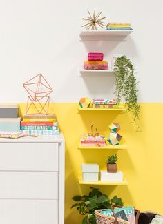 color-blocked floating shelves Yayy for yellow color block painted wall! I love home decor and fun wall colors!