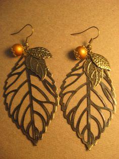 Leaves Earrings Jewelry - Fall Leaves Earrings - Skeleton Leaves Earrings - Woodland Leaves Earrings - Autumn Leaf Earrings -via Etsy.