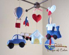 Bebé cuna Baby Mobile construcción carro por dropsofcolorshop