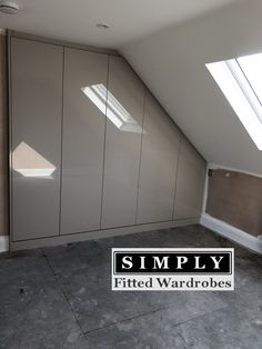 High Gloss Fitted Wardrobes in a loft conversion - - Dormer Bedroom, Attic Bedroom Storage, Upstairs Bedroom, Boys Bedroom Decor, Room Ideas Bedroom, Attic Rooms, Attic Spaces, Bedroom Loft, Fitted Bedroom Furniture
