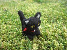 Felted Black Cat Kitty Shadow the Needle by LittleElfsToyshop, $20.00