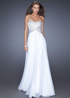 Full Length La Femme White Silver Sequin Prom Dress 19321 [La Femme 19366]