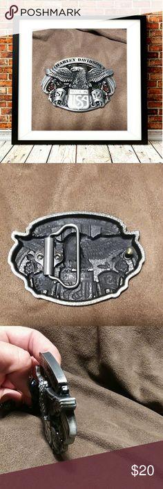 "Fashion eagle Harley Davidson belt buckle Fashion eagle Harley Davidson belt buckle.  3.5""W x 2.75""H. Loop width 1.58"". Zinc alloy Other"