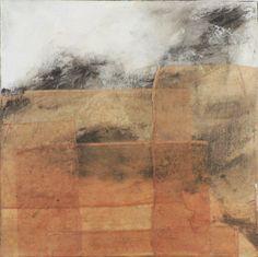 """Hallie LeBlanc Studio 8x8"""" Oil paint and tea bag paper on panel"""